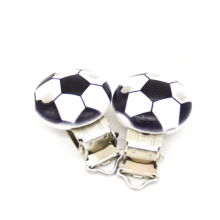 5PCs Baby Pacifier Clips Black Football Printed White Wood Metal Holders Clasps 4.4cm x 2.9cm(1 6/8 x1 1/8) doreenbeads zinc metal alloy toggle clasps rhombus antique silver pattern pattern 6 7cm x2 8cm 2 5 8 x1 1 8 2 sets new