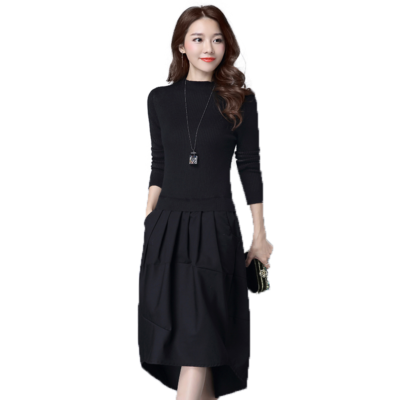 Spring Autumn Women Elegant Knitted Sweater Dress Female Long Sleeve Patchwork Fake 2 Piece Pullover Loose Dresses Dresses Q12