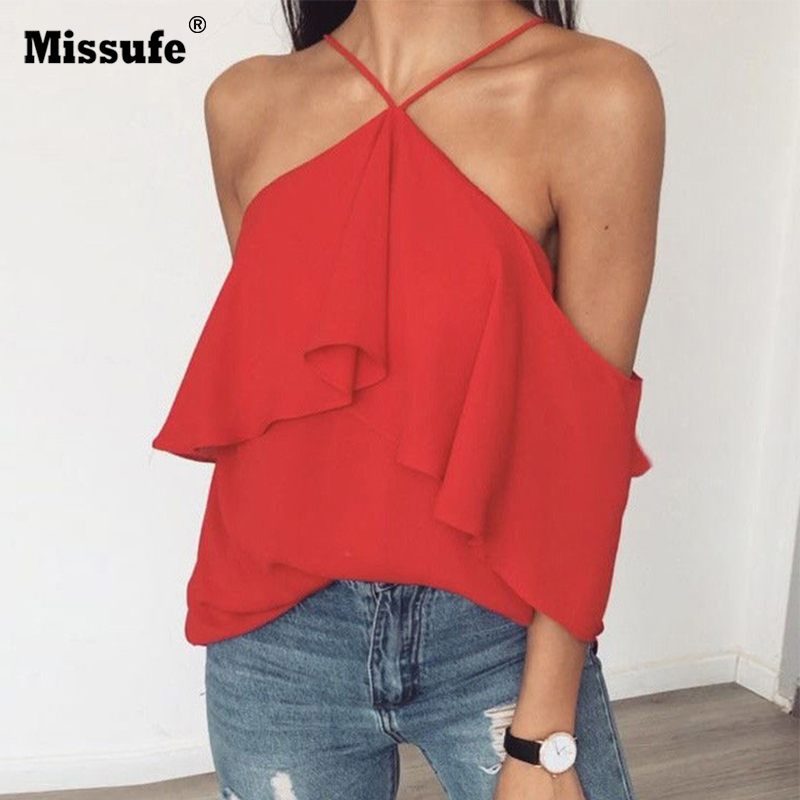 Missufe Halter Sexy Off Shoulder Blouse Shirts Women Ruffles Summer Tops 2018 Boho Style Backless Beach Yellow Blusas