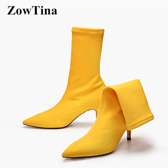 6759e8bd5 مثير أشار تو الأحذية حذاء امرأة الخريف الأحذية مرونة الشتاء المرأة كاندي  اللون الأصفر الأحمر الأسود