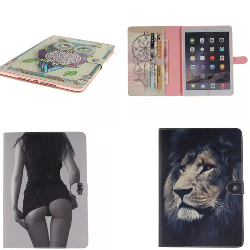 OWL Tiger Pu Leather+TPU Shell Case With Card Slots For Apple iPad Air 2 ipad 6 Cover Folio Stand Protector Fundas Coque