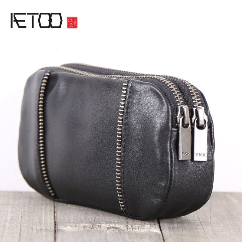 AETOO Cowhide Handmade wallet Long zipper 0 Wallet mobile phone storage small bag real bag men and women