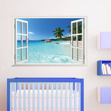 Removable Beach Sea 3D Window Scenery Wall Sticker home Decor Decals Mural Decal Exotic Beach View(China)