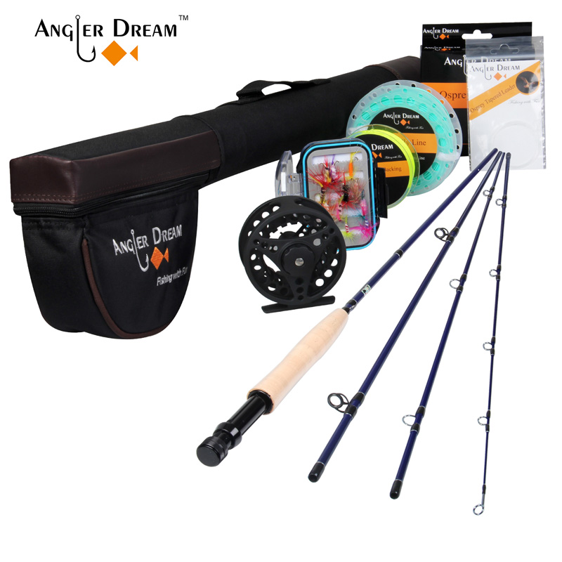 Angler Dream Fly Fishing Kits 2.5M 8'4'' 3WT Fly Fishing Rods Aluminum Fly Reel with Fishing Lures and Lines Rod Combo цена