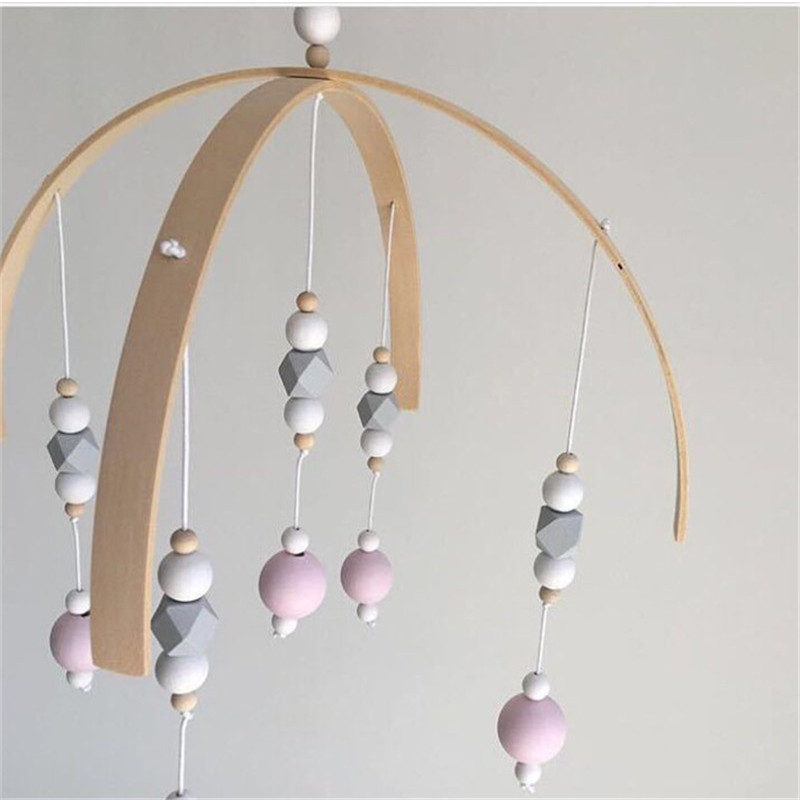 Crib Mobile Bed Bell Rattle Wooden Wind Chimes for Kids Newborn Nursery Decor