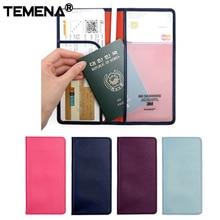 TEMENA PU Leather Passport Cover Famous Brand Travel Accessories Card ID Passport Holders women Passport Wallet