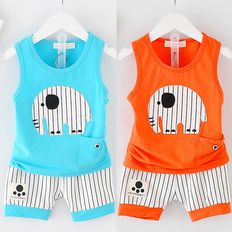 Summer Casual Cotton Boys Girls Clothes Set Cartoon Sleeveless Vest + Striped Shorts Children Soft Suit for 6-36 M Kids