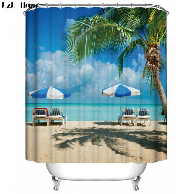 LzL Home palm beach snow pine colorful tree pattern shower curtains modern fashion style waterproof 3d curtains for the bathroom