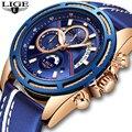 Новинка LIGE мужские s часы лучший бренд класса люкс синие военные спортивные часы мужские кожаные водонепроницаемые часы кварцевые часы ...