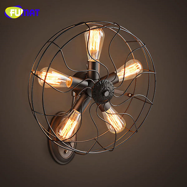 FUMAT Retro Loft Fan Decoration Wall Lamps Industrial Iron Fan Wall Light with E27 Edison Bulbs Vintage Bar Cafe Sconce Lamparas