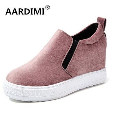 ГОРЯЧАЯ 2017 весной новый приход 4 цвета плоским туфли на платформе женщина увеличение высоты твердых мокасины ботинок квартир женщин chaussure femme