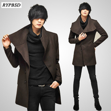 Mens Wool Jackets Spring Autumn Brand Men Woolen Coats Middle Long And Warm Overcoat Size 2XL