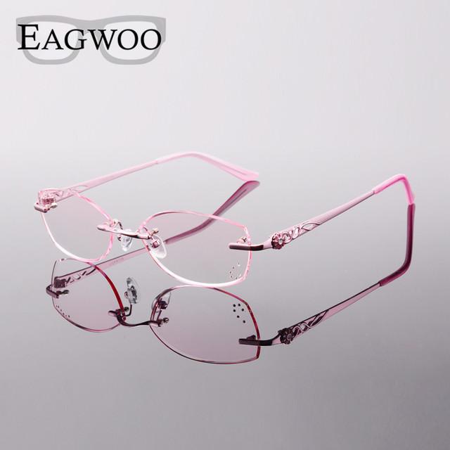 Titanium óculos mulheres óculos de leitura sem aro prescrição miopia photochromic rosto pequeno espetáculo com a cor da lente 28050