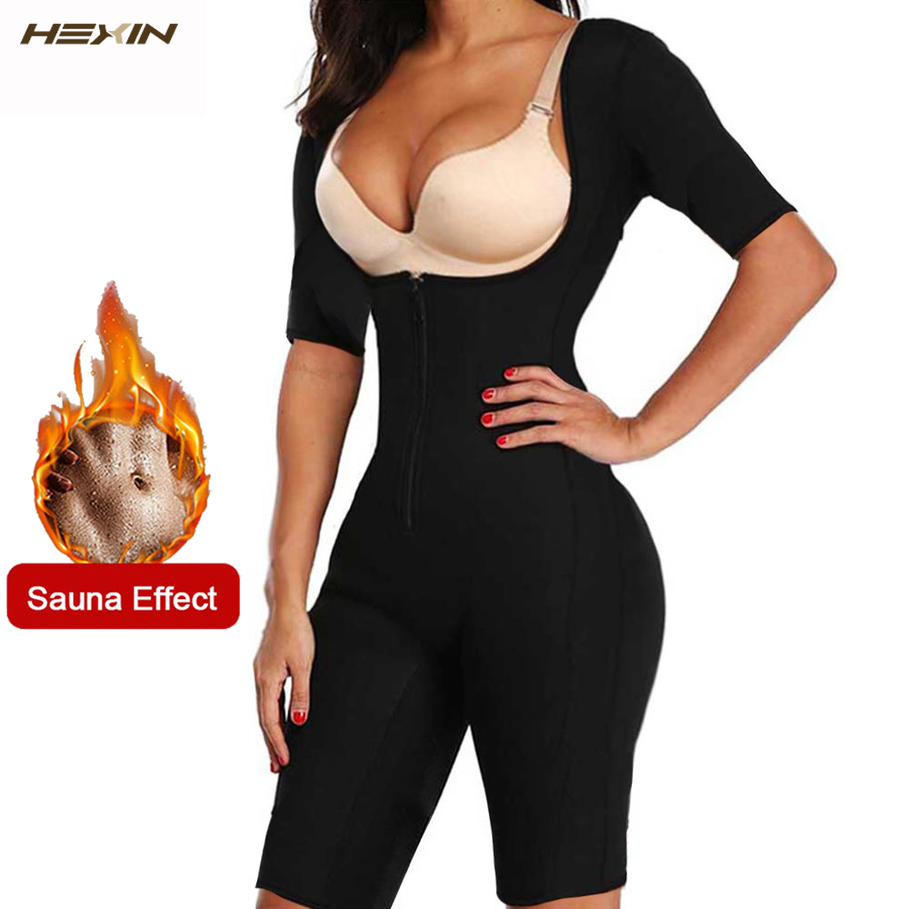 HEXIN Neo Sweat  Slimming Neoprene Suit With Sleeves Body Shapers For Weight Loss Sauna Workouts Fajas Shapewear with Trimmer