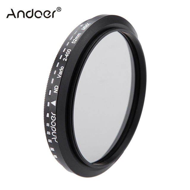 Andoer 52mm ND Filter Fader Neutral Density Einstellbare ND2 zu ND400 Variable Filter für Canon Nikon DSLR Kamera