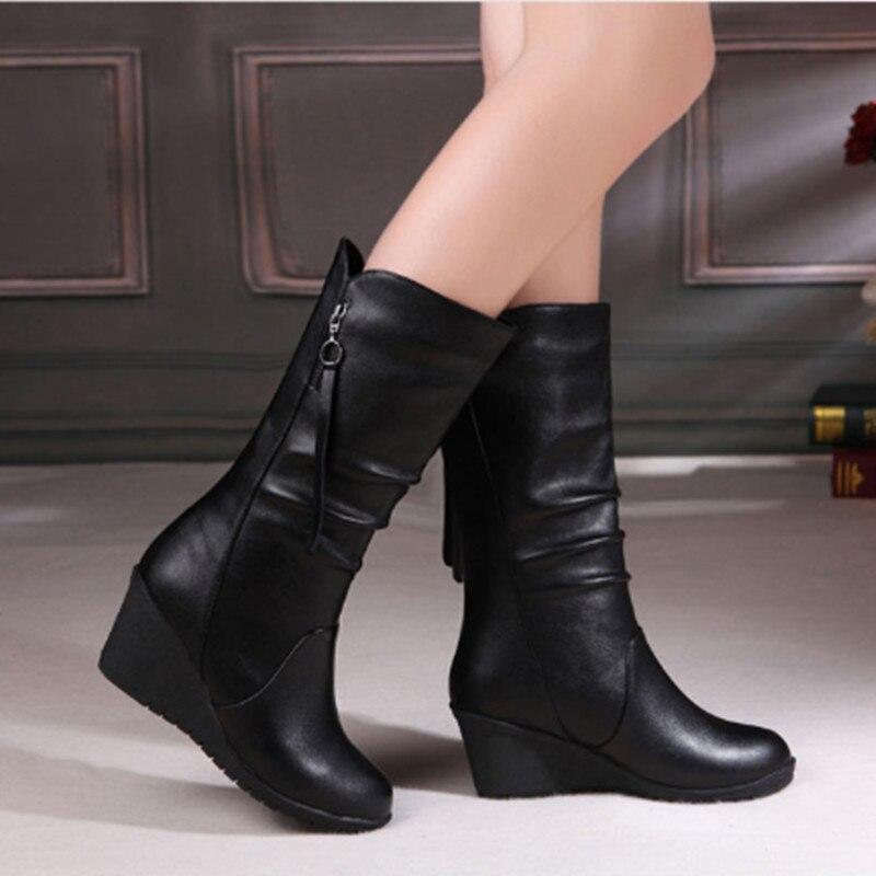 2015 sonbahar kış Yüksek kalite marka Hakiki deri kadın kar botları takozlar orta bacak kış çizme kadın ayakkabı