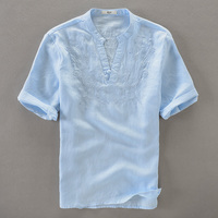 Embroidered linen shirts men short sleeve shirt mens casual stand collar shirts male solid one button fashion shirt man camisa