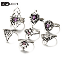 867be5cef 2018 New Pattern Restore Ancient Ways Violet Crystal Joint Ring Suit Woman  Hollow Ring 7 Pieces