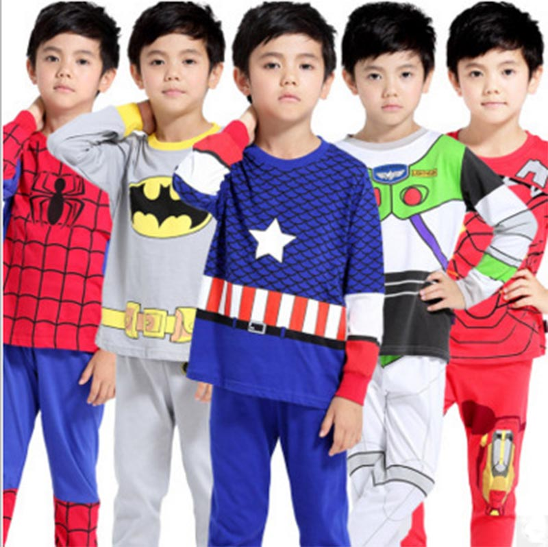 Autumn Winter Kids Costumes Cosplay Superman Spiderman Batman American captain Iron Man For Boy Girl Pyjamas The Avengers Sleepw