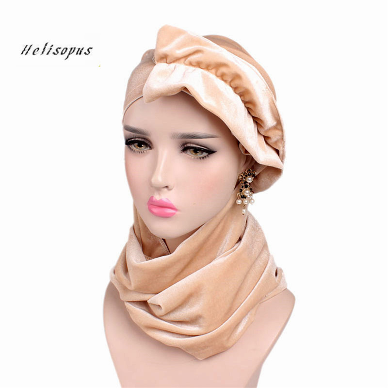 Helisopus New Arrive Women Fashion Velvet Scarf Hat Multi Function Elegant Retro Long Tail Hat Hijab Muslim Headwrap Turban Hat