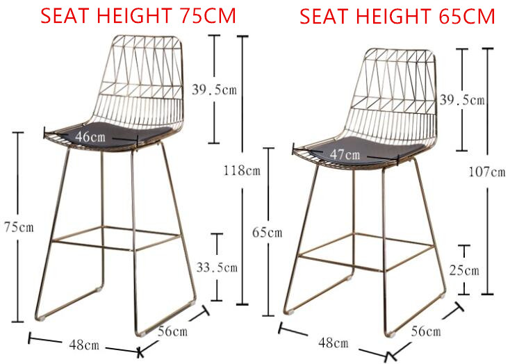 Seat High Chair Cover Hire In Manchester Height 45 65 75cm Nordic Simple Wrought Iron Modern Bar Sku 32916996075