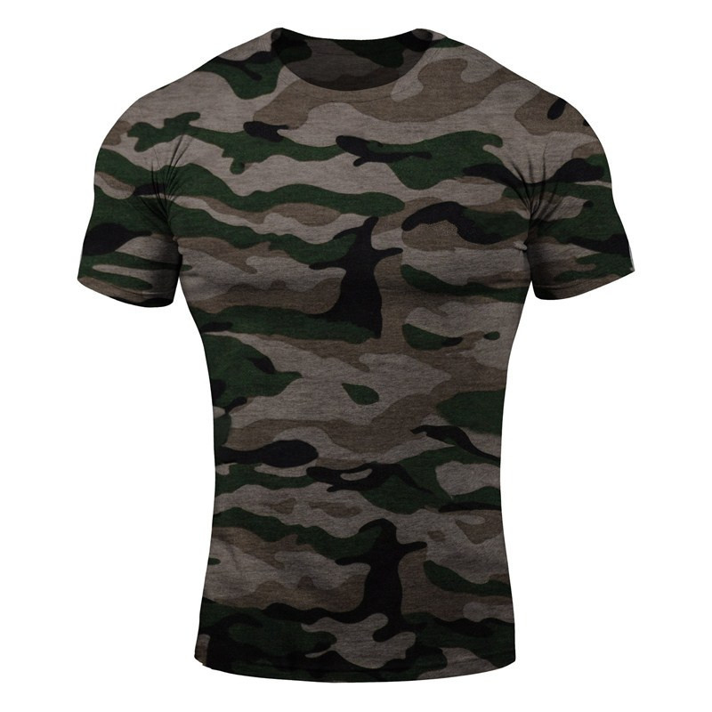 Men short sleeve Cotton t shirt Summer style Gyms Fitness Slim T-shirts Male Fashion Casual O-Neck camouflage tees tops clothing strength training