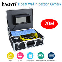 EYOYO 7 LCD Screen 20M Sewer Drain Camera Pipeline Wall Drain Inspection Endoscope With Keyboard DVR