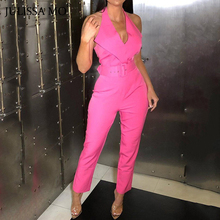 JULISSA MO Pink Halter Bodycon Summer Jumpsuit Women Sexy V Neck Backless Rompers