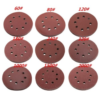 5 Inch 125mm 10Pcs Sanding Discs 8 Holes 60# 80# 100# 120# 180# 240# 320# 1000# Grit Hook & Loop Grinding Polish Discs For Clean