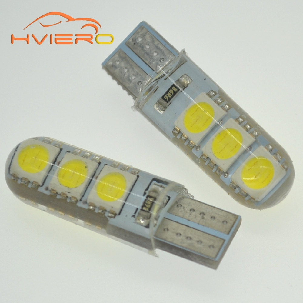 Car LED 1PCS T10 194 W5W DC 12V Canbus 6SMD 5050 Silicone shell LED Lights Bulb No Error Led Parking Fog light Auto Car styling flytop 10 x t10 canbus 5smd 5050 smd error free car bulb w5w 194 led lamp auto rear light white blue yellow red color can bus