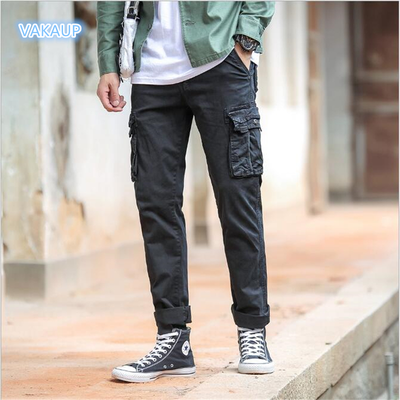 Mens Four Seasons Large Size Cotton Pants Modis Small Feet Baggy Overalls Young Korean Fashion Tramp Trousers Men Pants