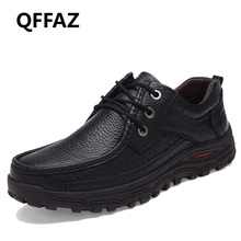 QFFAZ Brand Big Sizes 38-48 Genuine Leather Fashion Men Shoes Handmade Spring Autumn Brand High Quality Men Flats Shoes