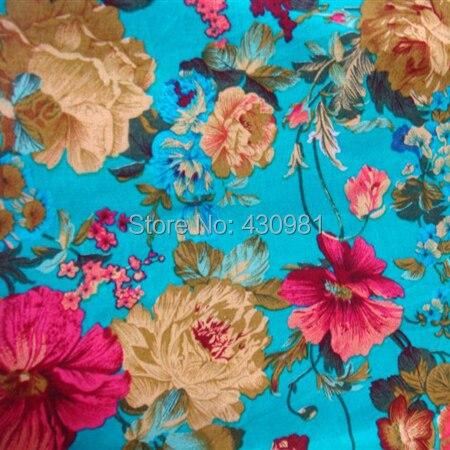 Blue Floral Design Cotton Linen Fabric For Dress Cheongsam Vintage