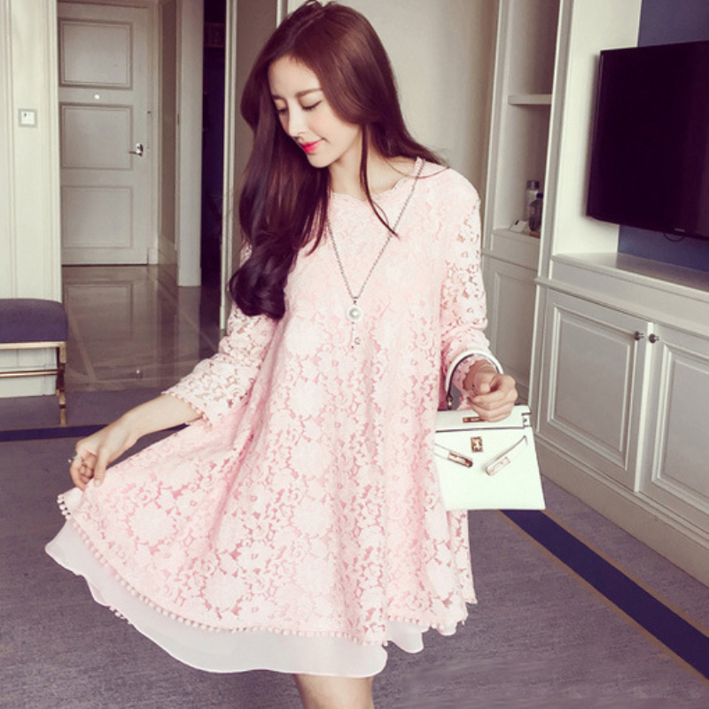Pregnant Women Solid Lace Short Dress Cute Luxury Pregnancy Clothes Irregular Hem Long Sleeve Maternity Dresses Pink Sky Blue batwing sleeve pocket side curved hem textured dress