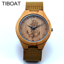 TIBOAT Lost sea Anchors Design Bamboo Watches Japan Quartz Wooden Wristwatches Genuine Leather Men Women Luxulry Watches