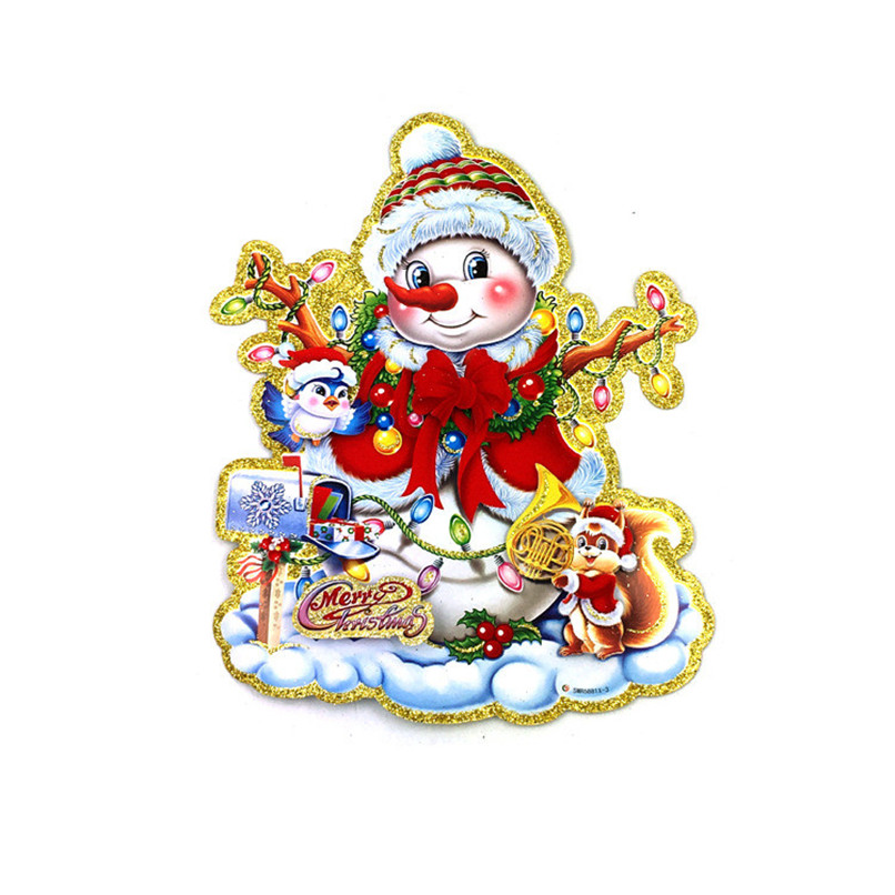 Removable Wall Sticker Snowman Carrying Gifts Outside of Window on Christmas Wholesale Free Shipping 4RC02