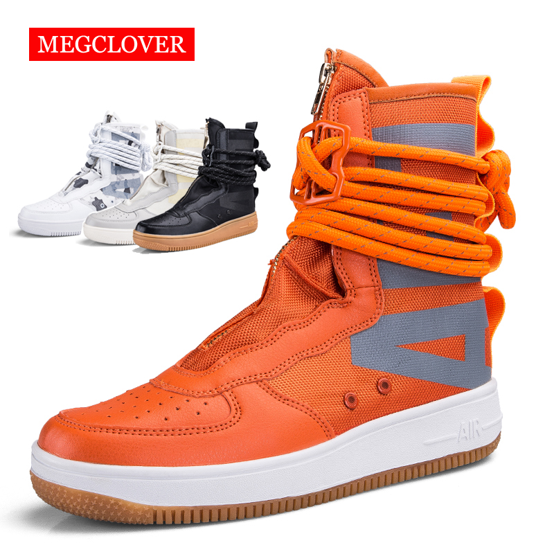 2019 Men's Casual Skateboarding Shoes High Top Sneakers Breathable Shoes Sports Shoes Wrap zipper Walking Shoes Chaussure Homme(China)