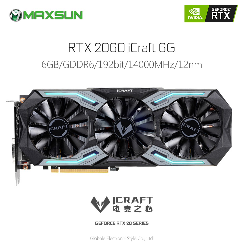 D'origine MAXSUN GeForce RTX 2060 iCraft 6G Vidéo Carte Graphique pour les Jeux GDDR6 192 Peu 14 Gbps HDMI DP DVI Carte