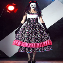 Free shipping 2018 women New Halloween skeletons ghosts brides long dress zombie costumes night DS stage for adult