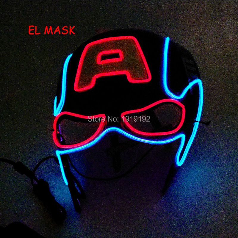 2018 New Style EL Mask Energy saving Colorful Select LED Mask with 3V Sound Active For Mask Cosplay Decorative Party Supplies