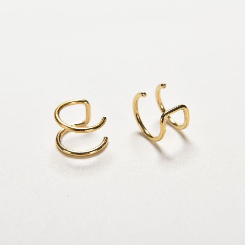 Plain or Beads Ear Cuff  /'Clip on/' Cartilage Double Closure Ring STEEL Choose
