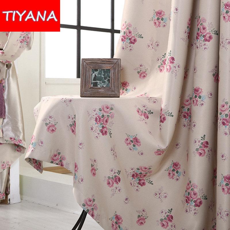 rstico cortinas opacas cortinas persianas de diseo rosado de la flor tela para cortinas para el