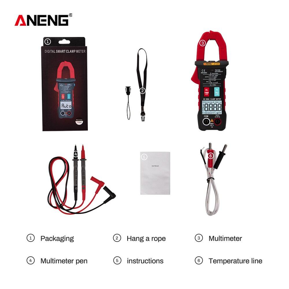 ANENG ST205 цифровой клещи аналоговый мультиметр токовые клещи DC/AC Интеллектуальный автоматический измеритель диапазона с тестером температуры - Цвет: Красный