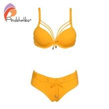 Andzhelika żółty stałe Bikini kobiety seksowna z wiązaniami Bikini Set strój kąpielowy Push Up Bikini strój kąpielowy stroje kąpielowe kobiet Biquini