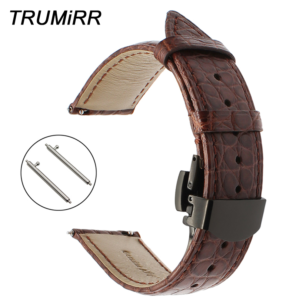 20mm Genuine Alligator Leather Watchband for Samsung Gear S2 Classic R732 R735 Huawei Watch 2 (Sports) Band Quick Release Strap все цены