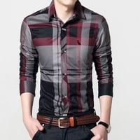 DUDALINA Men S Plaid Striped Shirt Long Sleeve Slim Fit Casual Business Dress Shirt High Quality