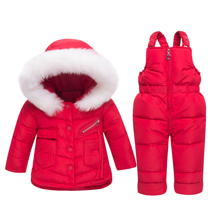 2018 Russia Winter Children Set Baby Down Jacket Set Winter Hooded White Duck Down Thick Boys and Girls Clothes Fit 1-3T 2018 autumn and winter boys and girls jacket baby winter thick warm cotton clothes baby hooded quilted jacket