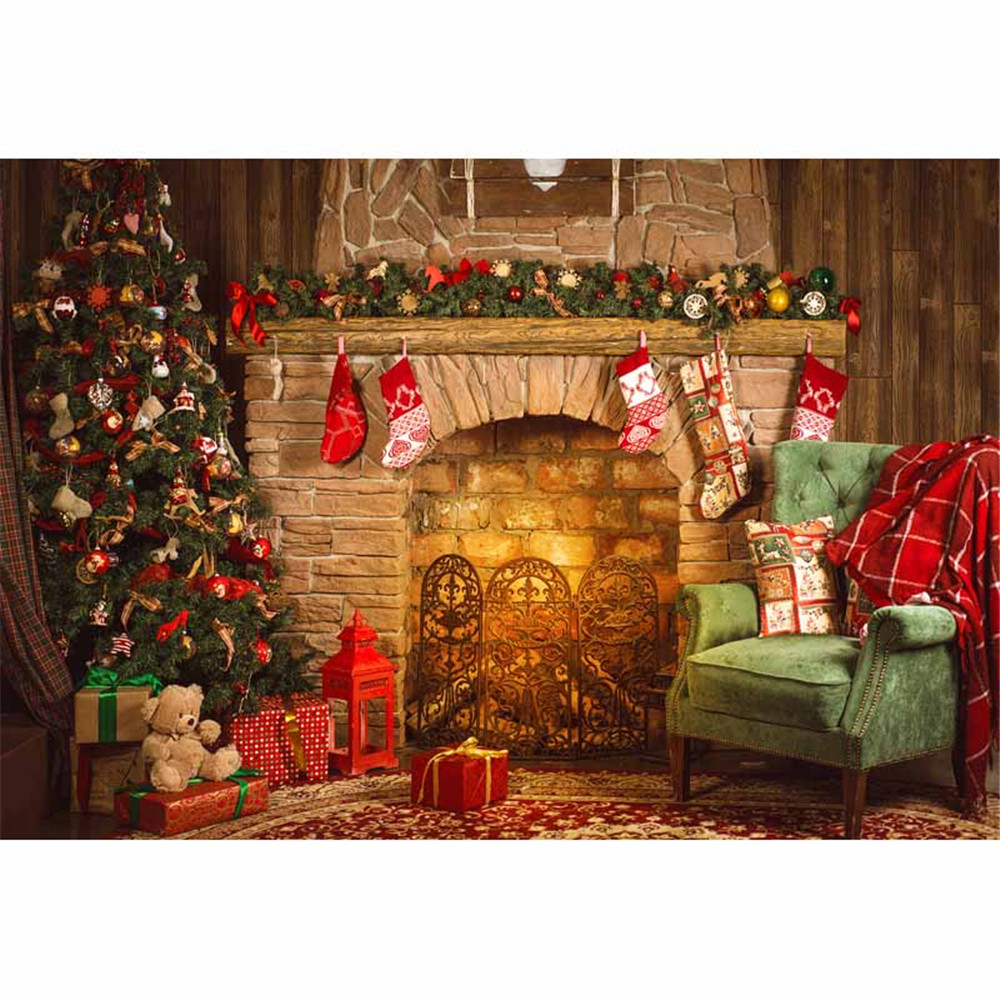 Indoor Fireplace Merry Christmas Photo Background Printed