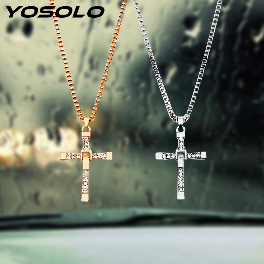 YOSOLO Car Rearview Mirror Hanging Ornament Alloy Car Pendant Car-styling Christian Cross Pendants Auto Accessories Decoration