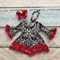 V-day девушки детские детская одежда хлопок Осень-Зима красный черный оборками дамаск платье бутик flare рукавом соответствия лук и ожерелье